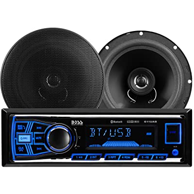 BOSS Audio Systems 638BCK Car Stereo Package - Single Din, Bluetooth, - no CD DVD MP3 USB WMA AM FM Radio, 6.5 Inch 2 Way Full Range Speakers: Car Electronics