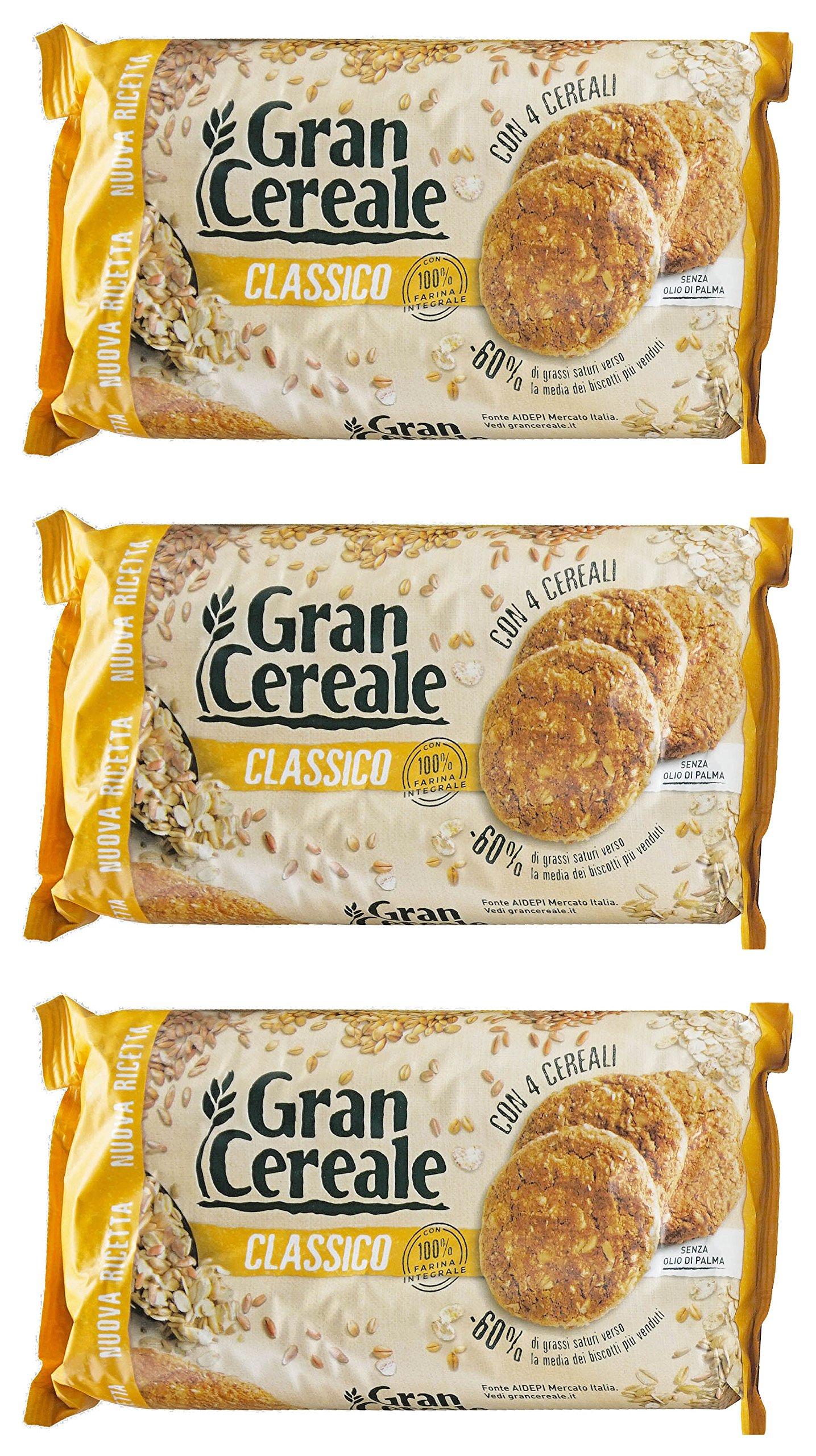 Mulino Bianco: ''Gran Cereale Classico'' Cereals Cookies (Classic Taste), High in Fibers Biscuits * 17.63 Ounces (500g) Packages (Pack of 3) * [ Italian Import ]
