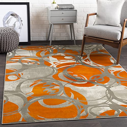 Eartha Orange Modern Area Rug 7 6 x 10 6