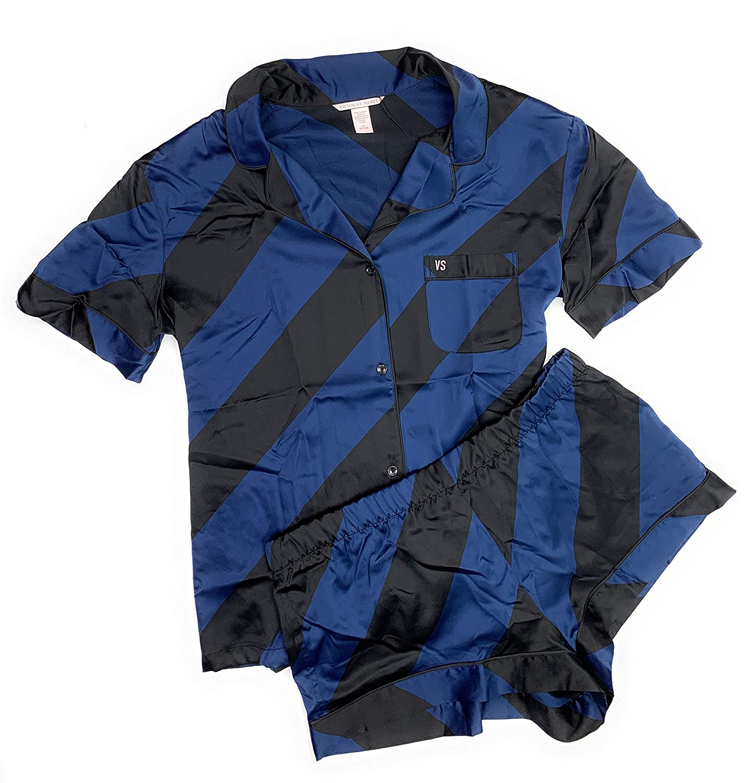 8b84ef8f2b Victoria s Secret Women s Satin Boxer PJ Afterhours Pajama Shorts Set Blue  Candy Cane Stripe Large at Amazon Women s Clothing store