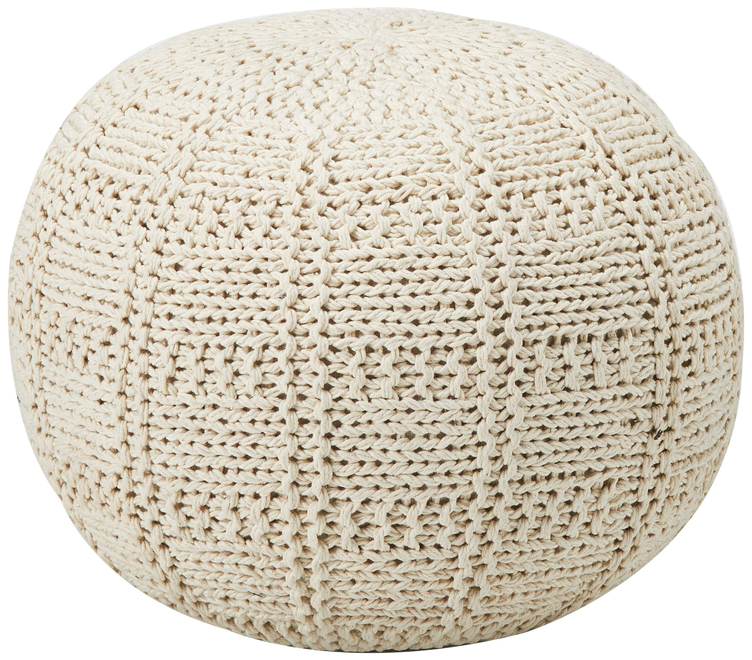 Christopher Knight Home Valentine Hand Knit Fabric Pouf (Ivory) by Christopher Knight Home