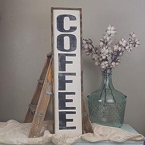 Dozili Wood Coffee Sign Rustic Coffee Sign Vertical Coffee Sign Coffee Bar Sign Coffee Decor Gifts for Coffee Lovers Custom Wood Sign 6