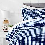 AmazonBasics Microfiber 2-Piece Quilt/Duvet/Comforter Cover Set - Single, Gingham Plaid - with Pillow Cover