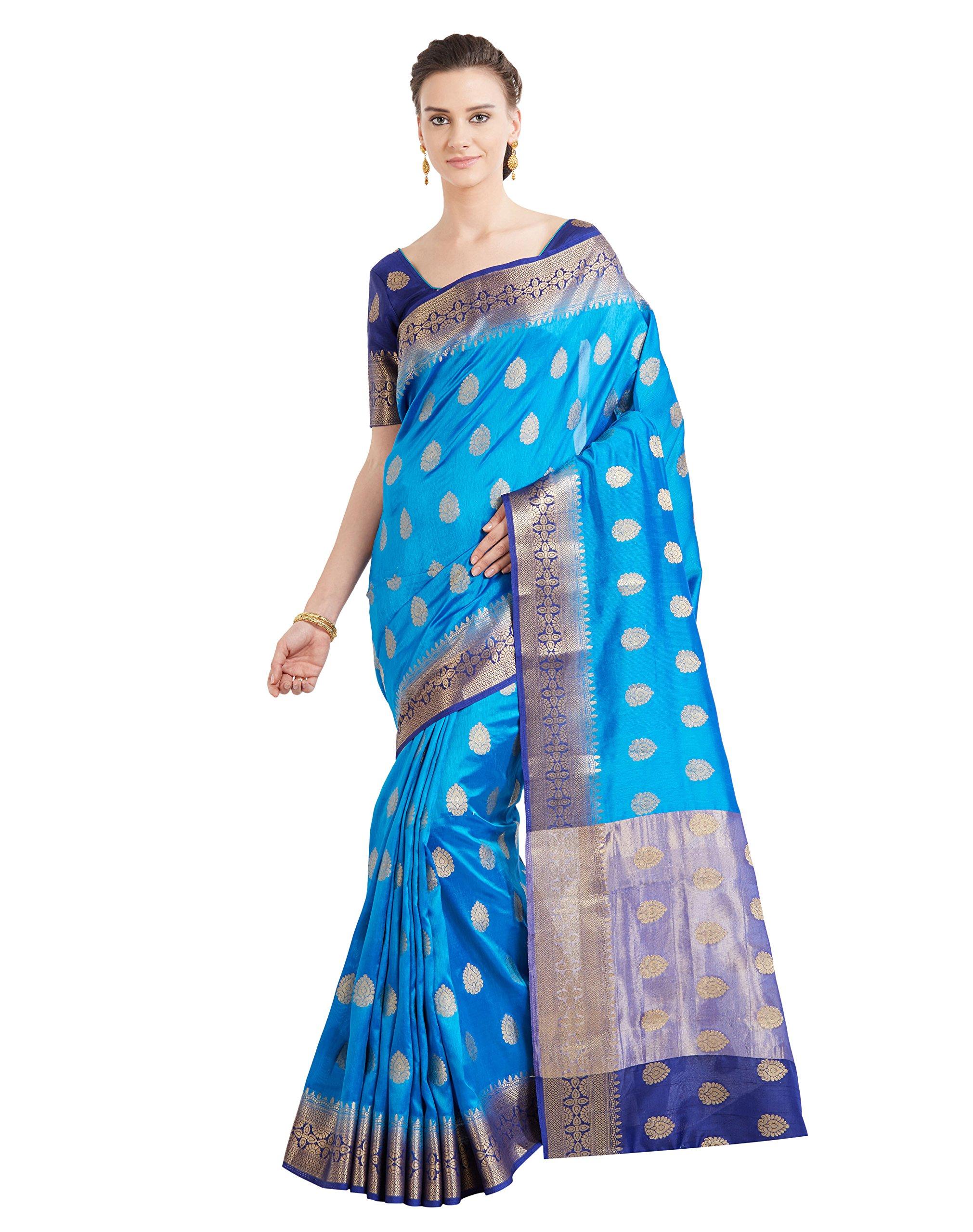 424cf7dad5 Galleon - Viva N Diva Sarees For Women's Banarasi Party Wear Blue Colour  Banarasi Art Silk Saree With Un-Stiched Blouse Piece,Free Size