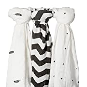 Muslin Swaddle Blanket, Baby Swaddle, 100% Cotton, 47x47 Inches, 3 Pack, Soft, Breathable, Cross, Feather, Black and White, Unisex Design, Burping Cloth, Stroller Cover, The Comfort Collective