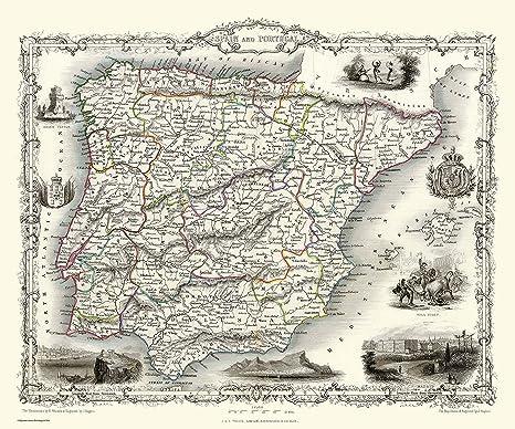 History Portal 1000 Piezas Puzle Rompecabezas Mapa del España & Portugal 1851 por John Tallis: Amazon.es: Juguetes y juegos