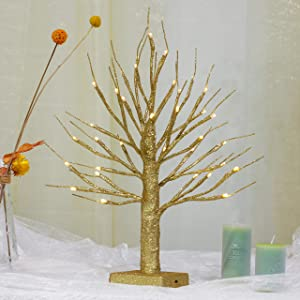 "Brightdeco Lighted Gold Glitter Birch Tree 18"" H 36 LED Artificial Bonsai Lamp Money Tree for Indoor Use Great Décor for Home Bedroom Halloween Thanksgiving Christmas Easter Wedding Party Warm White"