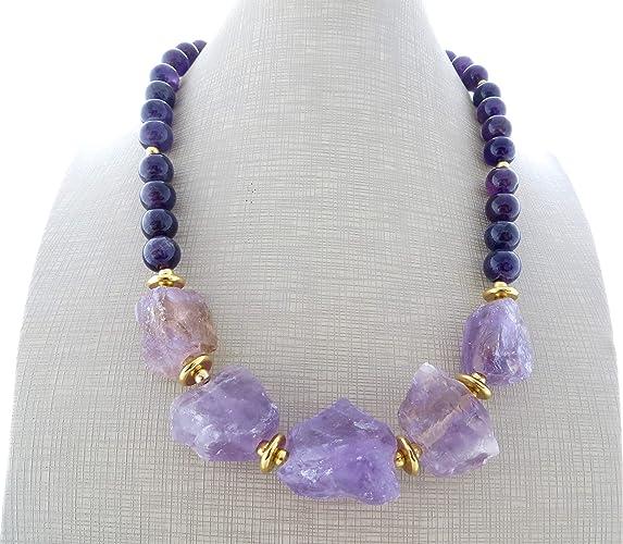 ampia scelta di colori così economico piuttosto bella Collana con ametista viola e lavanda, girocollo con pietre ...