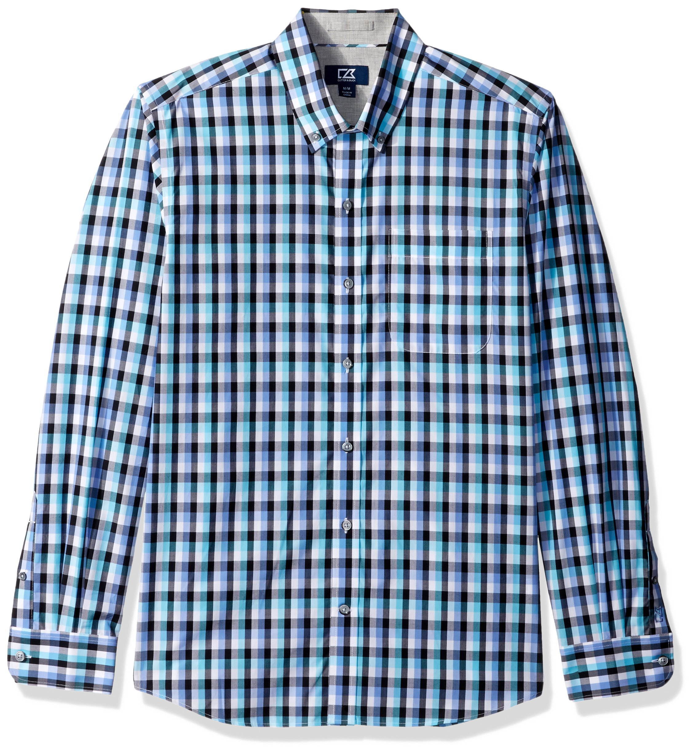 Cutter & Buck Men's Big and Tall Large Plaid and Check Easy Care Button Down Collared Shirts, Wisteria Purple Sawyer, XLT