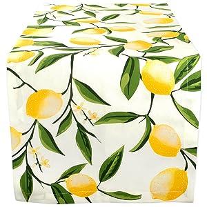 "DII Cotton Table Runner for Dinner Parties, Summer BBQ & Outdoor Picnics -14x108"", Lemon Bliss"