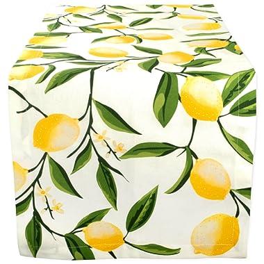 DII Cotton Table Runner for Dinner Parties Summer BBQ & Outdoor Picnics, 14x108 , Lemon Bliss