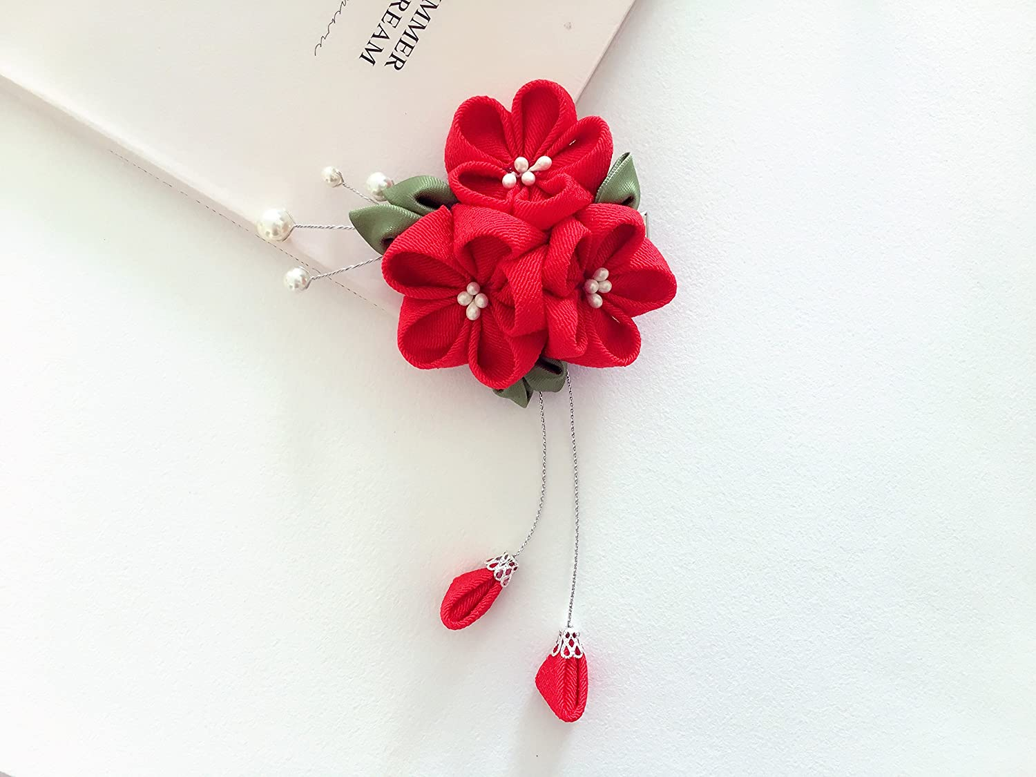 Set of 2 hair clips Red and grey. Kanzashi  Fabric Flowers