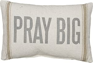Primitives by Kathy Light Striped Pillow, 15 x 10-Inches, Pray Big
