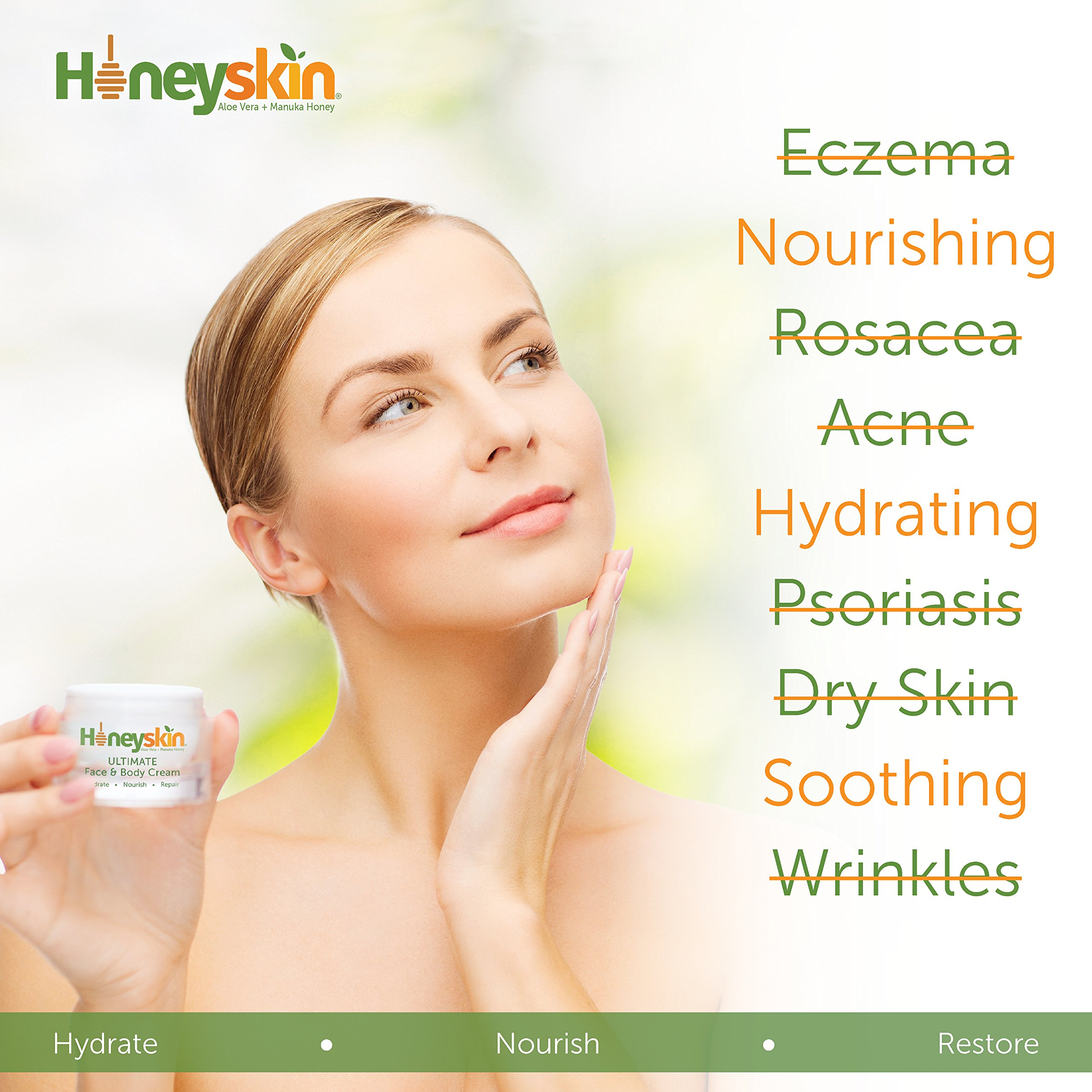 Organic Dry Skin Repair Cream (64 oz) Natural Facial Moisturizer - Rosacea, Eczema, Psoriasis, Rashes, Redness, Raw Superfoods, Manuka Honey, Aloe Vera, Shea Butter by Honeyskin Organics by Honeyskin Organics (Image #8)