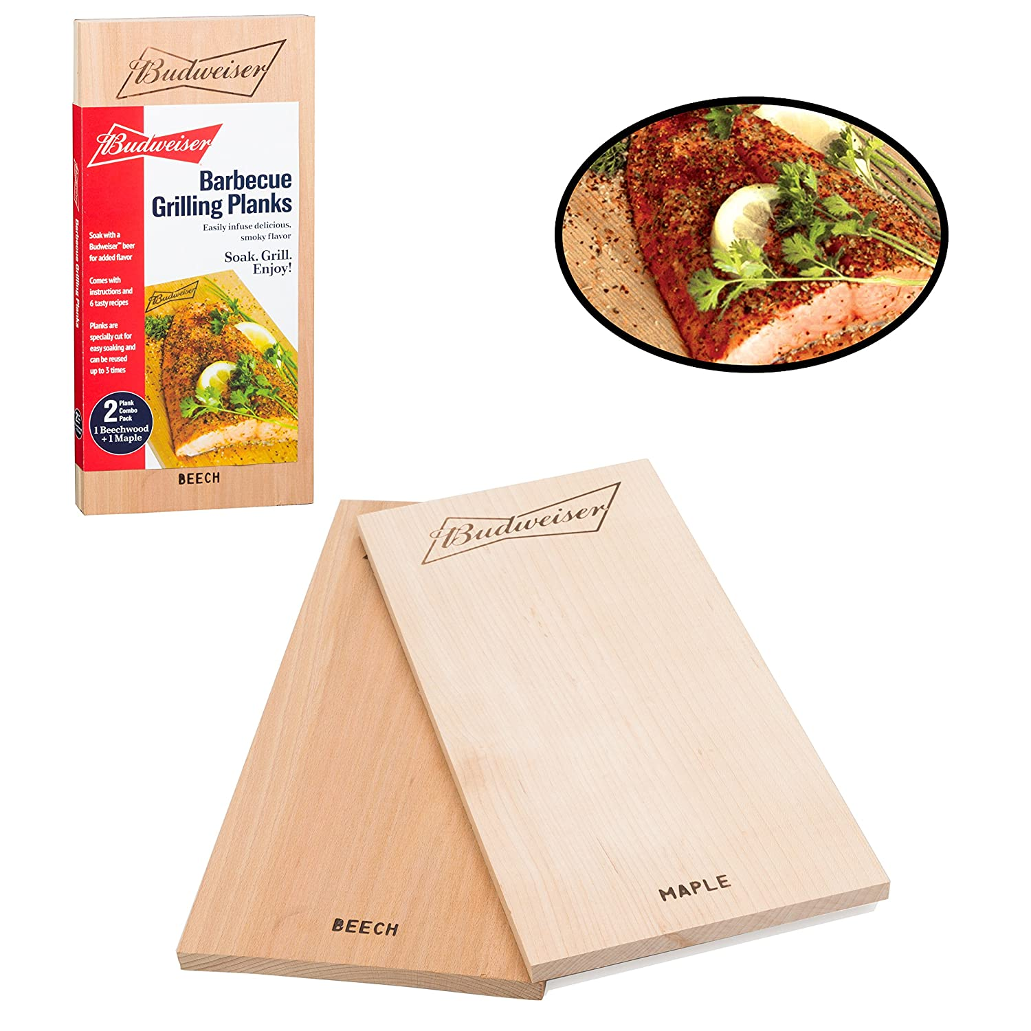 Budweiser Grilling Planks- Set of 2, BBQ Grill Planks - Infused Smoky Maple & Beechwood - All Natural
