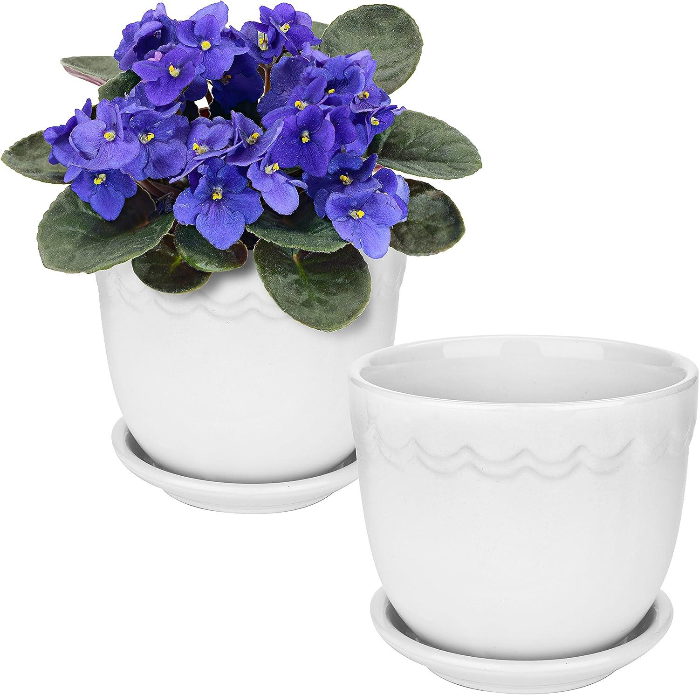MyGift White Ceramic Succulent Planter Pots