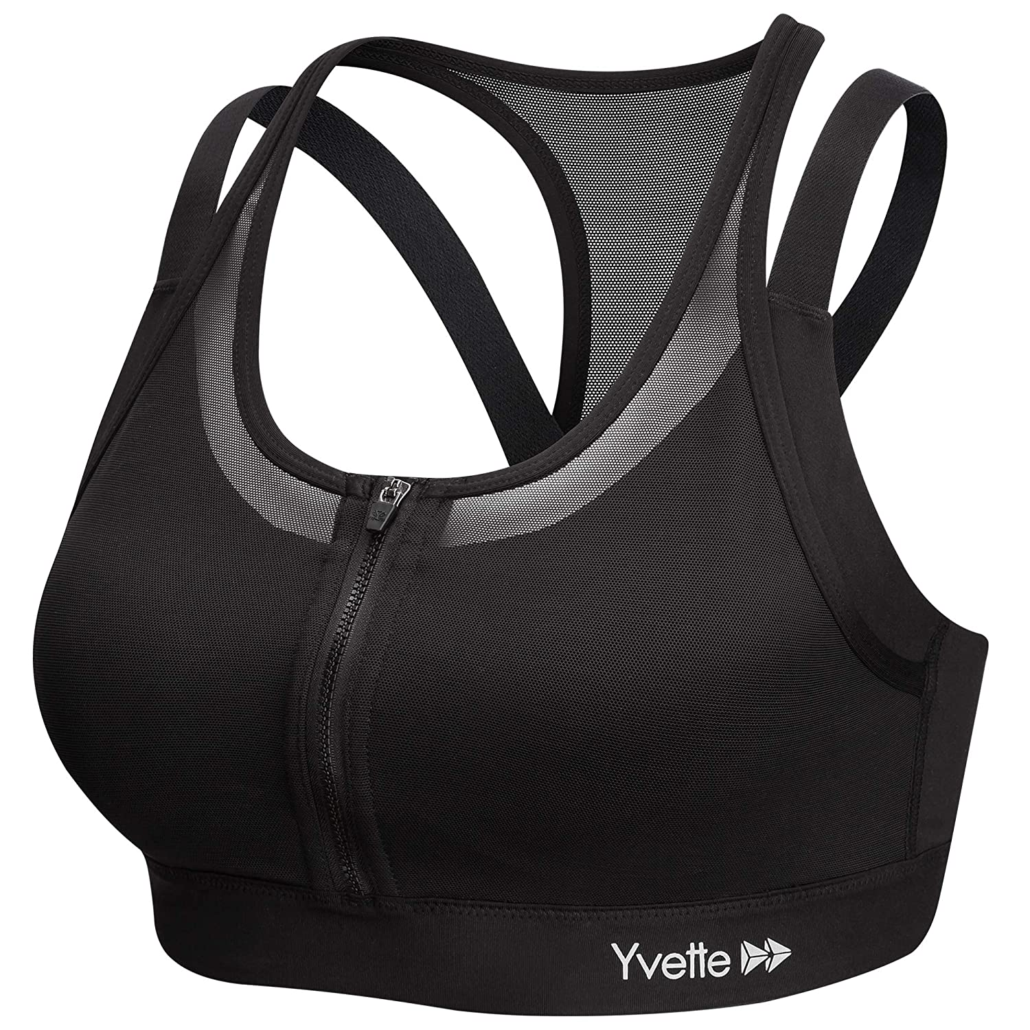 def94324ddd34 Yvette Sports Bra Women Zip Front High Impact No Bounce Wirefree Workout Bra  for Large Busts at Amazon Women s Clothing store