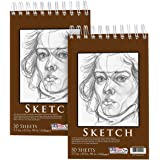 """U.S. Art Supply 5.5"""" x 8.5"""" Premium Heavy-Weight Paper Spiral Bound Sketch Pad, 90 Pound (160gsm), Pad of 30-Sheets (Pack of 2 Pads)"""