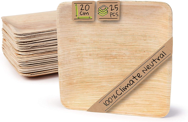 BIOZOYG Platos de Hojas de Palma | 25 Piezas de ojas de Palma Rectangular 20 x 20 cm | Bio vajilla desechable Boda compostable Biodegradable Vajilla de Fiesta
