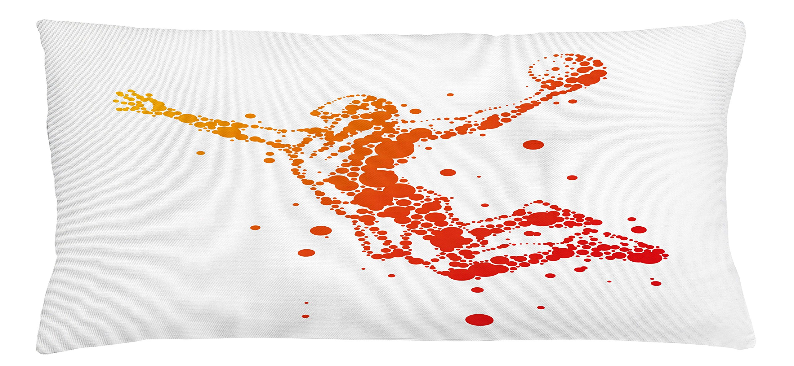 Lunarable Boy's Room Throw Pillow Cushion Cover, Jumping Player Silhouette with Big and Little Dots Athlete Basket Game Score, Decorative Square Accent Pillow Case, 36 X 16 inches, Orange Red