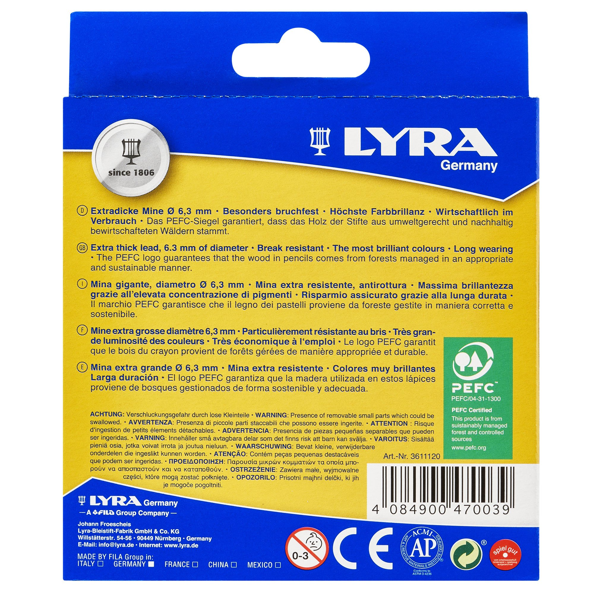 LYRA Ferby Giant Triangular Colored Pencils, Unlacquered, 6.25 Millimeter Cores, Assorted Colors, 12 Count (3611120) by Lyra (Image #3)