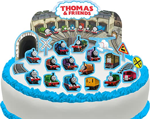Fabulous Pre Cut Thomas The Tank Engine Friends Edible Cake Scene 22 Funny Birthday Cards Online Overcheapnameinfo