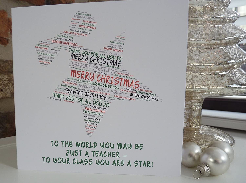 Personalised Star Teacher Christmas Card Personalised Christmas