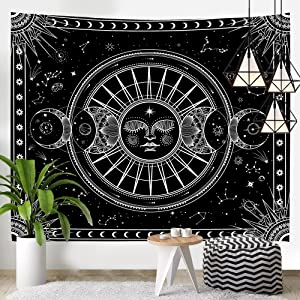 KamaLove Sun Moon Tapestry Black and White Tapestry Wall Hanging, Psychedelic Astrology Tapestry Aesthetic Space Stars Wall Tapestry for Bedroom Living Room Dorm Home Decor, 51x59 Inches