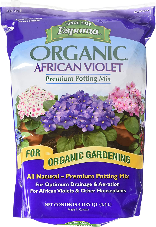 Espoma African Violet Potting Mix, Natural & Organic Premium Soil, 4 qt, Pack of 1