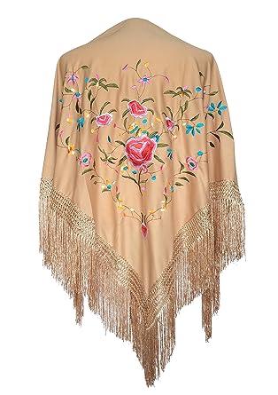 699abde423210 La Señorita Mantones bordados Flamenco Manton de Manila beige con flores   Amazon.es  Ropa y accesorios