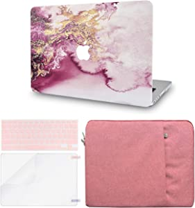 LuvCase 4 in 1 LaptopCase forMacBookAir 13 Inch A1466 / A1369 (No Touch ID)(2010-2017) HardShellCover, Sleeve, Keyboard Cover & Screen Protector (Red Gold Marble)