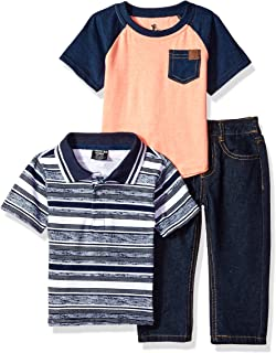 American Hawk Boys 3 Piece Plaid Woven and Jean Set SP22 T-Shirt Or Creeper