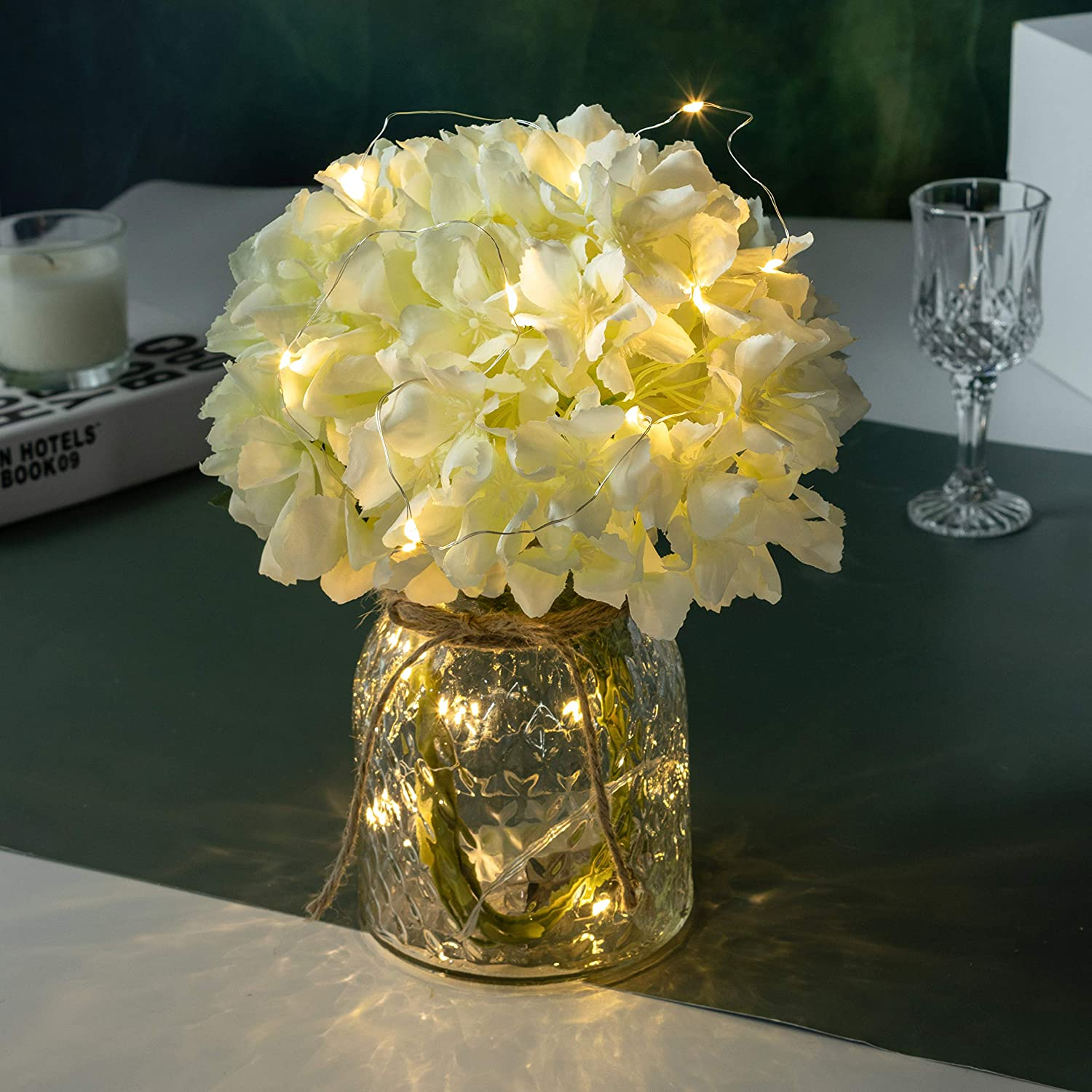 Artificial Led Hydrangeas Flowers With Glass Vase Flower Arrangement For Table Centerpiece Home Office Wedding Decoration Kitchen Dining