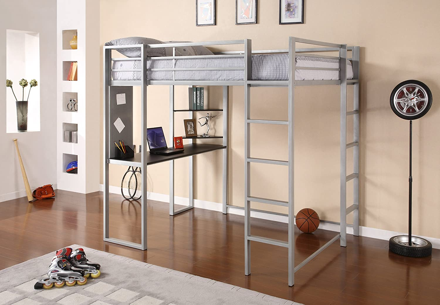 Amazon.com: DHP Abode Full Size Loft Bed Metal Frame With Desk And Ladder,  Silver: Kitchen U0026 Dining