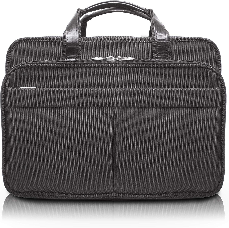 """McKlein, R Series, Walton, Tech-Lite Ballistic Nylon, 17"""" Nylon Expandable Double Compartment Laptop Briefcase w/Removable Sleeve, Black (73985)"""