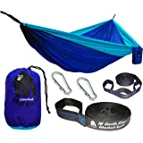"CHILL GORILLA DOUBLE HAMMOCK WITH TREE STRAPS. Perfect for Backpacking Camping Travel Beach Yard. Portable Parachute Hammock. Easy to Setup. 126""(L) x 78""(W) Lightweight Ripstop Nylon."