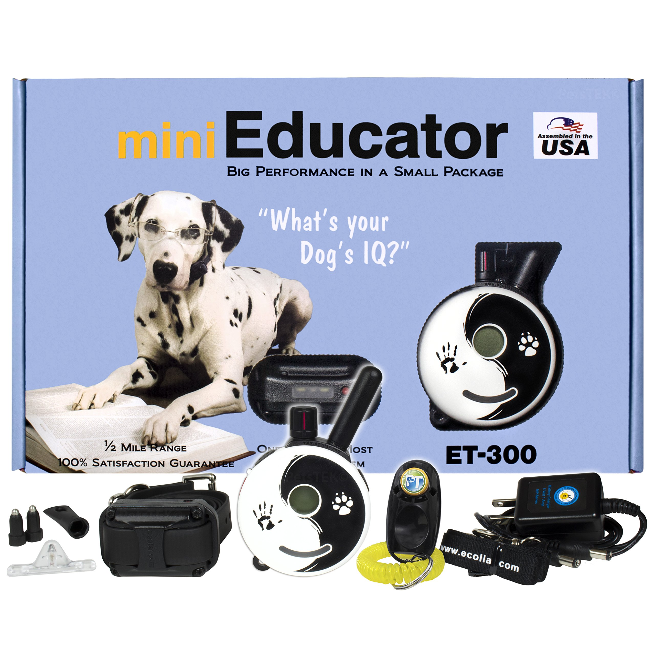 E-Collar - ET-300ZEN - 1/2 Mile Remote Waterproof Trainer Mini Educator - Static, Vibration and Sound Stimulation Collar with PetsTEK Dog Training Clicker by Ecollar