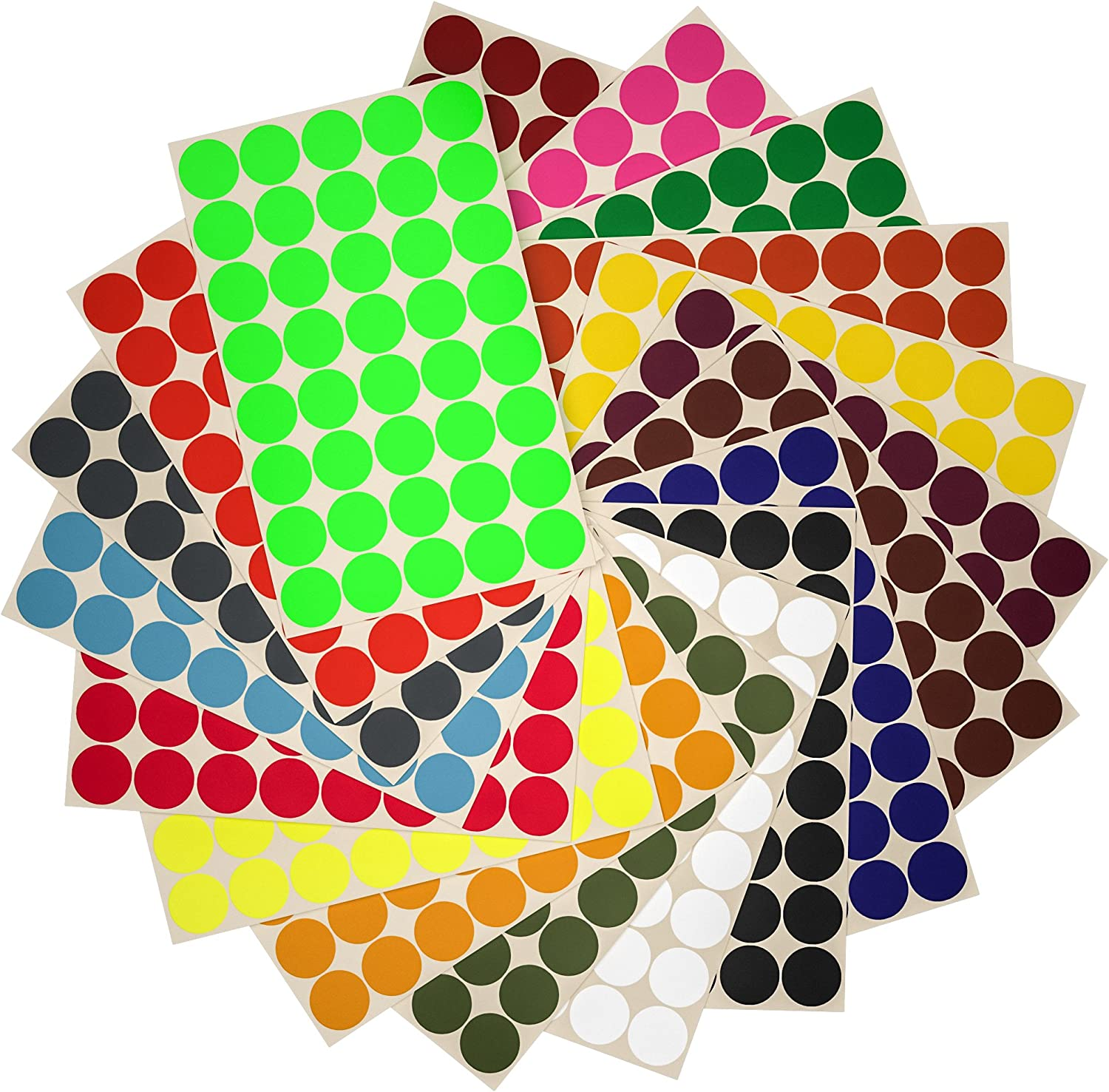 """Round Sticker Dots 3//4/"""" 19 mm Marking Colored Labels for DIY Projects 880 Pack"""