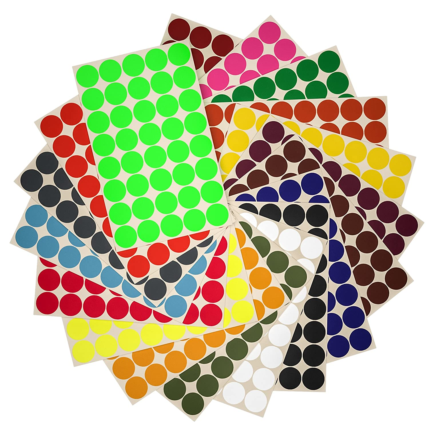 Amazon com round stickers colored labels 19mm 5 8 inch 18 assorted colors 720 pack by royal green office products