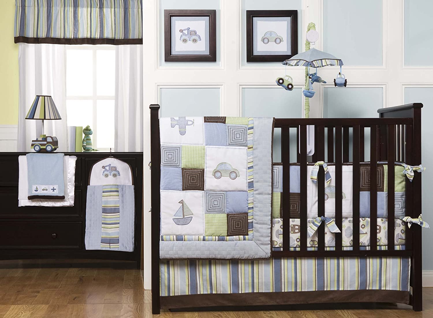 Letters crib bedding set 4 piece set contemporary baby bedding - Amazon Com Kids Line Mosaic Transport 8 Piece Crib Bedding Set Blue Brown Discontinued By Manufacturer