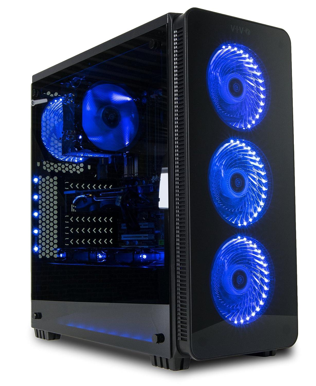 Vivo ATX Mid Tower ordenador Gaming Negro PC Carcasa w/templado cristal panel lateral, 6 puertos, 3 velocidades del ventilador, USB 3.0 (case-v08): ...