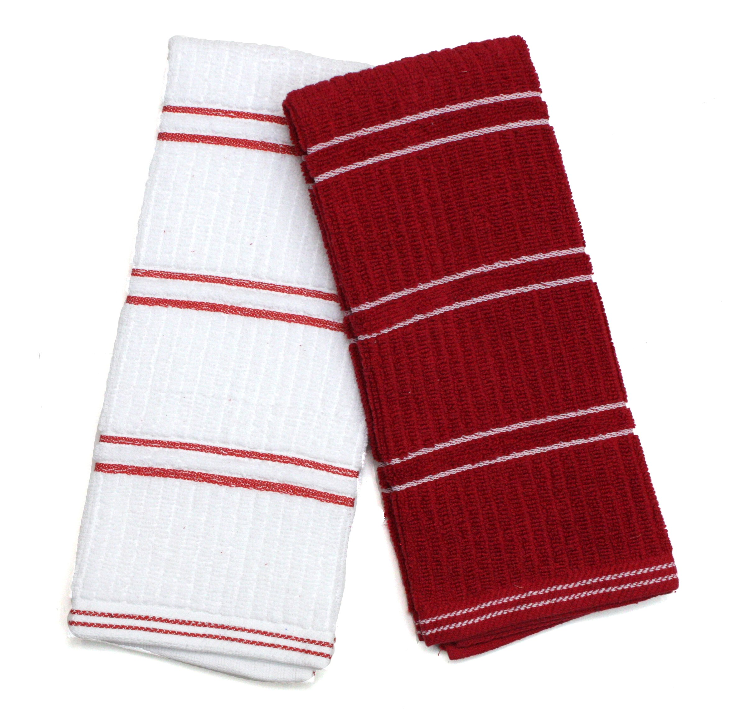 J&M Home Fashions Ribbed Terry Kitchen Dish Towels (16x26 Set of 6 - Assorted Red & White) Absorbent & Durable for Wiping Down Countertops, Dusting, or Drying Dishes by J&M Home Fashions (Image #2)