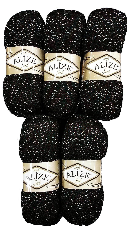 5x 100g Alize glitter 6003a maglia e uncinetto di lana nero 500grams filato metallico