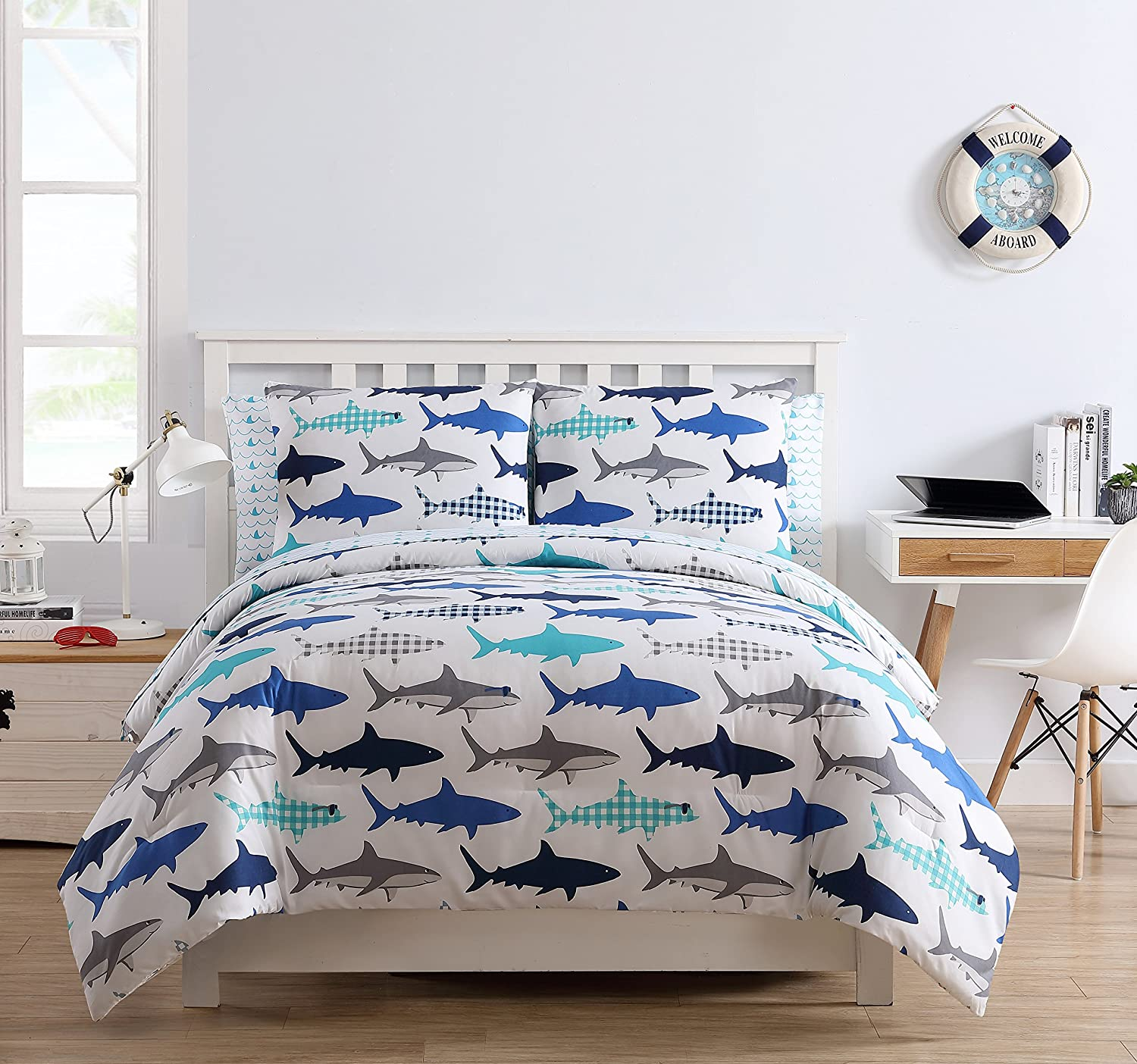 LO 7 Piece Kids White Blue Grey Shark Comforter Full Set, Ocean Plaid Shark Bedding Navy Teal Predator Fish Ocean Plaid Waves Accents Beach Cottage, Microfiber