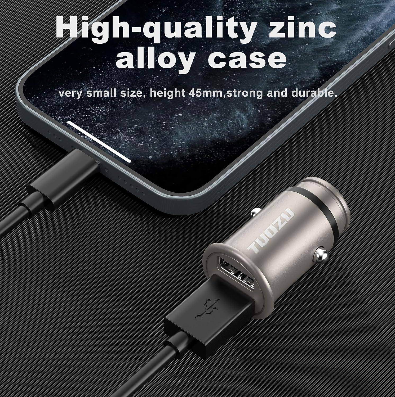 Google Pixel and More Galaxy S20 S21 Dual USB Mini Car Charger iPad Pro//Air 2//Mini 24W//4.8A Zinc Alloy Car Adapter Compatible For iPhone XR//Xs//Max//X//8//7//Plus