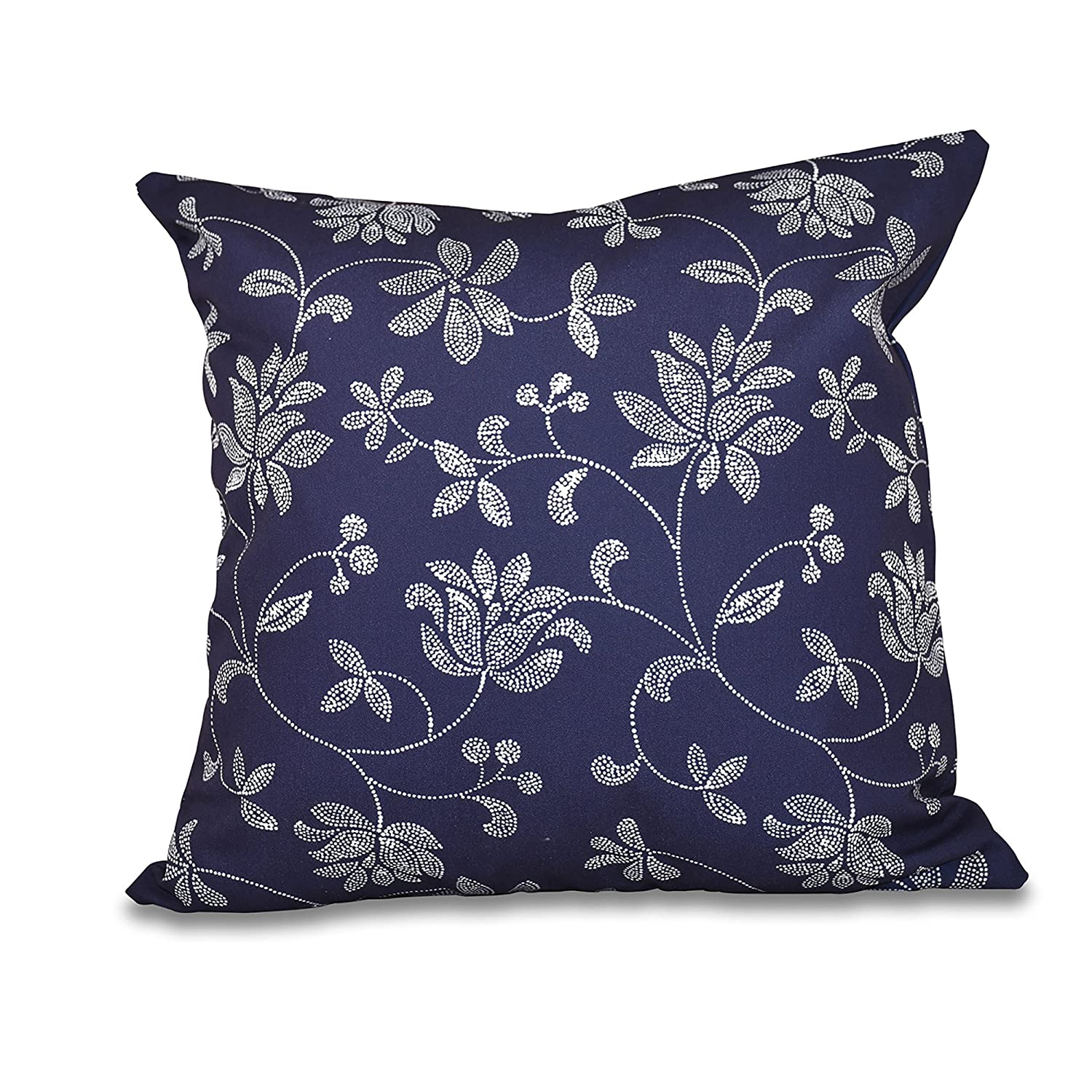 Navy Blue E by design 20 x 20-inch Traditional Floral Floral Print Pillow