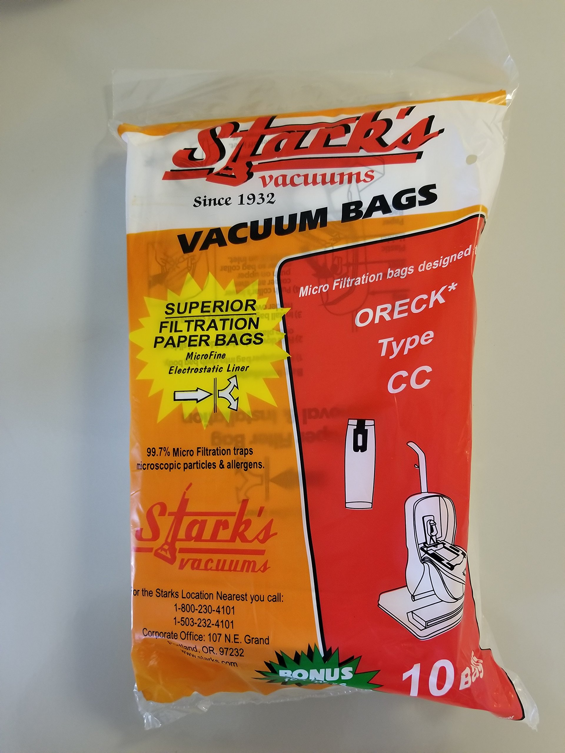 Stark's Vacuums Generic Oreck Vacuum Cleaner Bags To Fit Style CC, and all XL Upright Models 10 pk