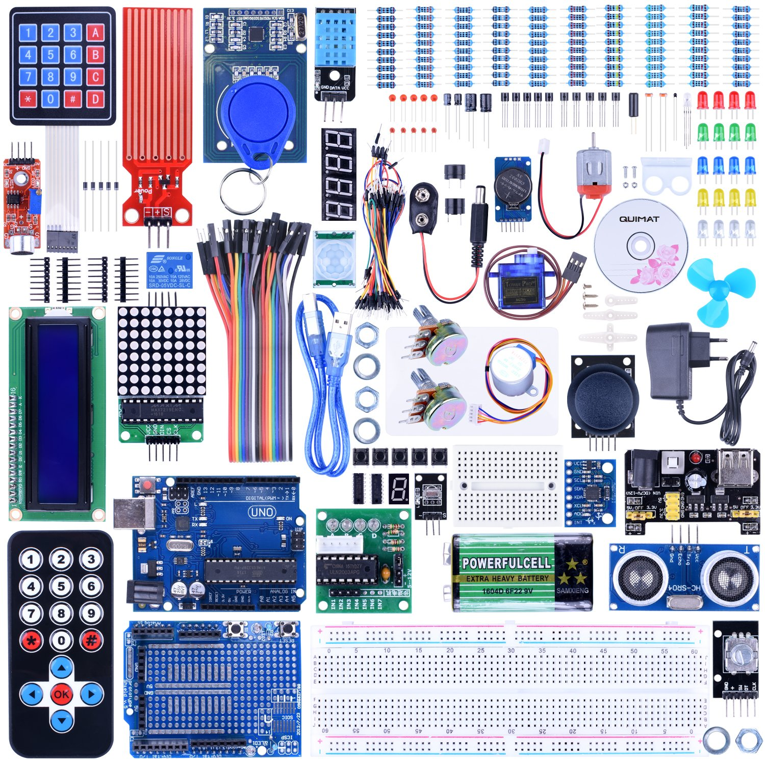 QK27 Quimat UNO R3 Project Complete Ultimate Starter Kit for Arduino with Tutorial,UNO R3 Development Board,Expansion Board,LCD1602,HC-SR501,Ultrasonic Sensor Module with Bracket 69 Items