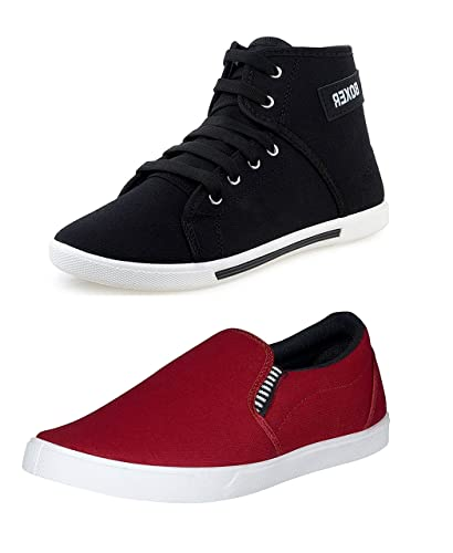 4162f92f6c8 BERLOC Men s Combo Pack of Maroon Loafer   Black Sneaker  Buy Online ...