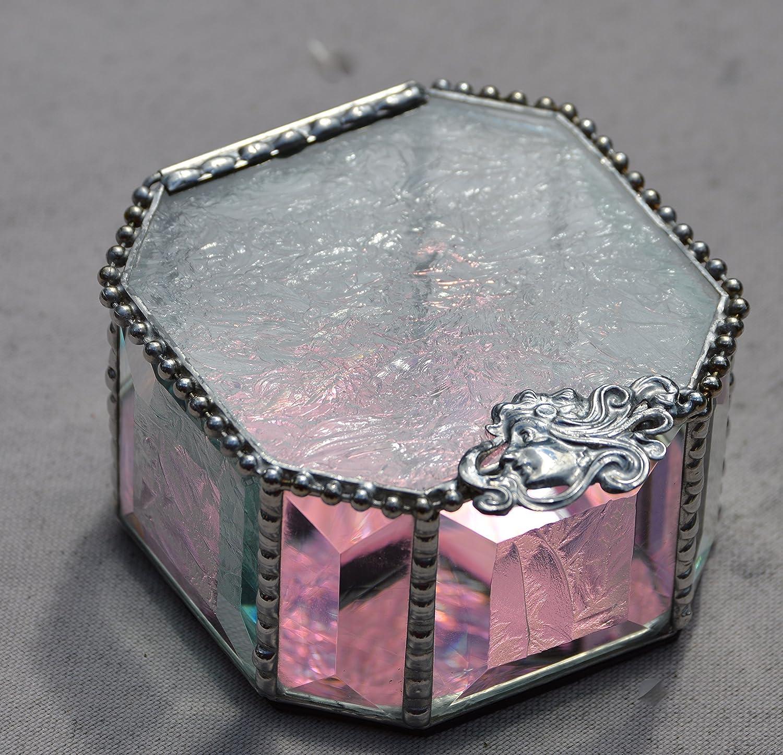 Octagon Stained Glass Amethyst and Glue Chip Beveled Hand Beaded Jewelry Box, Art Deco Closure, Ring Box, Keepsake Box, Trinket Box